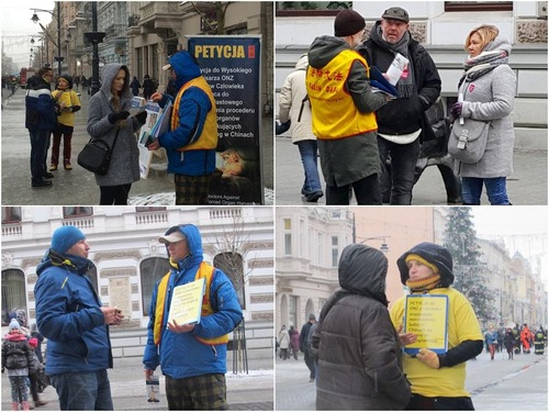 Falun Gong practitioners tell people about the persecution in China.