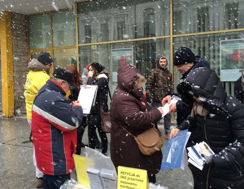 Despite the snow, many stopped to sign the petition against persecution.