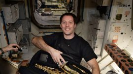 French astronaut surprised with saxophone for birthday in space