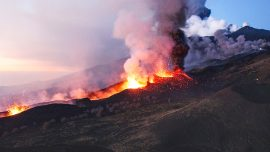 Lava spotted flowing down Mount Etna