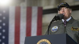 Trump promises to end military sequester, boost defense, in weekly address
