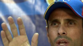 Venezuela's Capriles joins protests amidst 15-year ban from political life