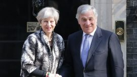British Prime Minister May talks Brexit with EP President Tajani