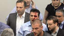 Macedonia parliament breaks out in violence after Albanian speaker election