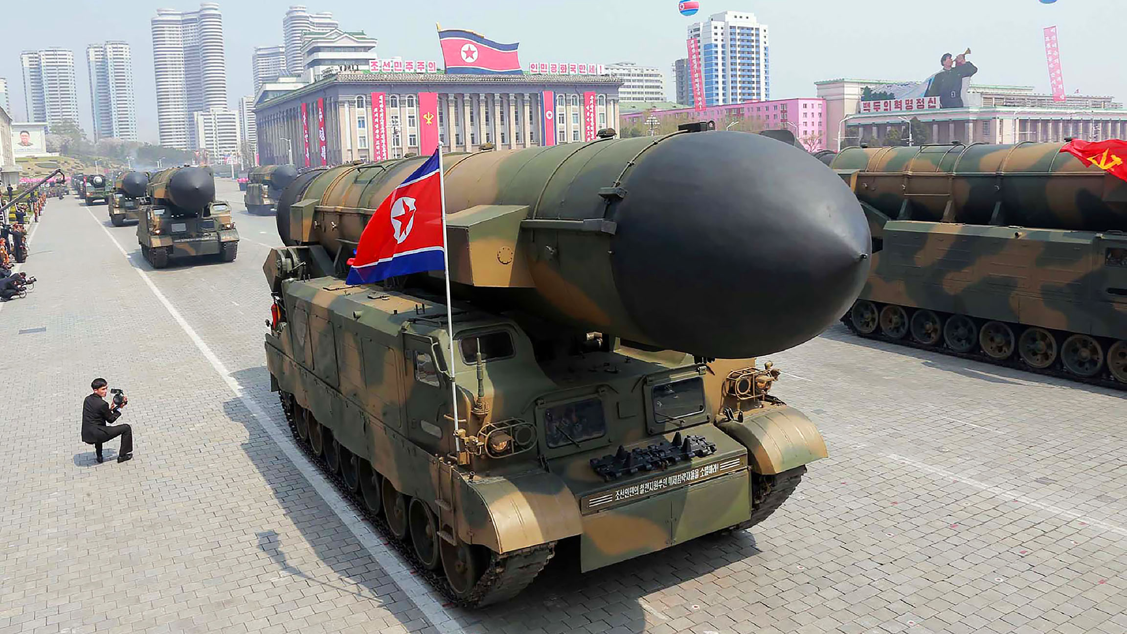 This April 15, 2017 picture released from North Korea's official Korean Central News Agency (KCNA) on April 16, 2017 shows Korean People's ballistic missiles being displayed through Kim Il-Sung square during a military parade in Pyongyang marking the 105th anniversary of the birth of late North Korean leader Kim Il-Sung. (AFP/Getty Images)