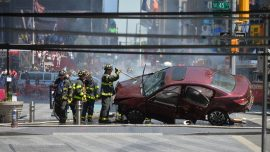 Wrong-way driver kills one, hurts 18 in Times Square