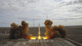 US satellite launched by Russian rocket
