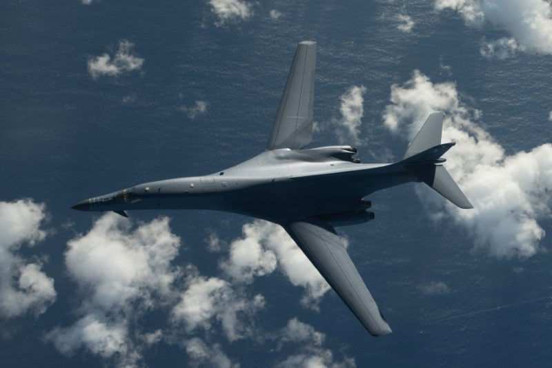 One of two U.S. Air Force B-1B Lancer bombers flies a 10-hour mission from Andersen Air Force Base, Guam, into Japanese airspace and over the Korean Peninsula, July 30, 2017. (U.S. Air Force photo/Airman 1st Class Jacob Skovo/Handout via REUTERS)