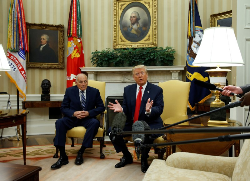 U.S. President Donald Trump speaks to journalists after John Kelly was sworn in as White House Chief of Staff in the Oval Office of the White House in Washington, U.S., July 31, 2017. (REUTERS/Joshua Roberts)
