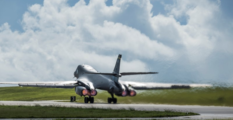 One of two U.S. Air Force B-1B Lancer bombers takes off for a 10-hour mission, to fly in the vicinity of Kyushu, Japan, the East China Sea, and the Korean peninsula, from Andersen Air Force Base, Guam August 8, 2017. (U.S. Air Force/Tech. Sgt. Richard P. Ebensberger/Handout via REUTERS)