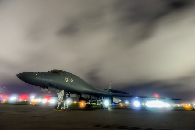 A U.S. Air Force B-1B Lancer bomber sits on the runway at Anderson Air Force Base, Guam July 18, 2017. (U.S. Air Force/Airman 1st Class Christopher Quail/Handout/File Photo via REUTERS)