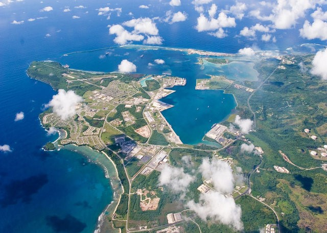 An aerial view of U.S. Naval Base Guam September 20, 2006. (U.S. Navy/Handout/File Photo via REUTERS)