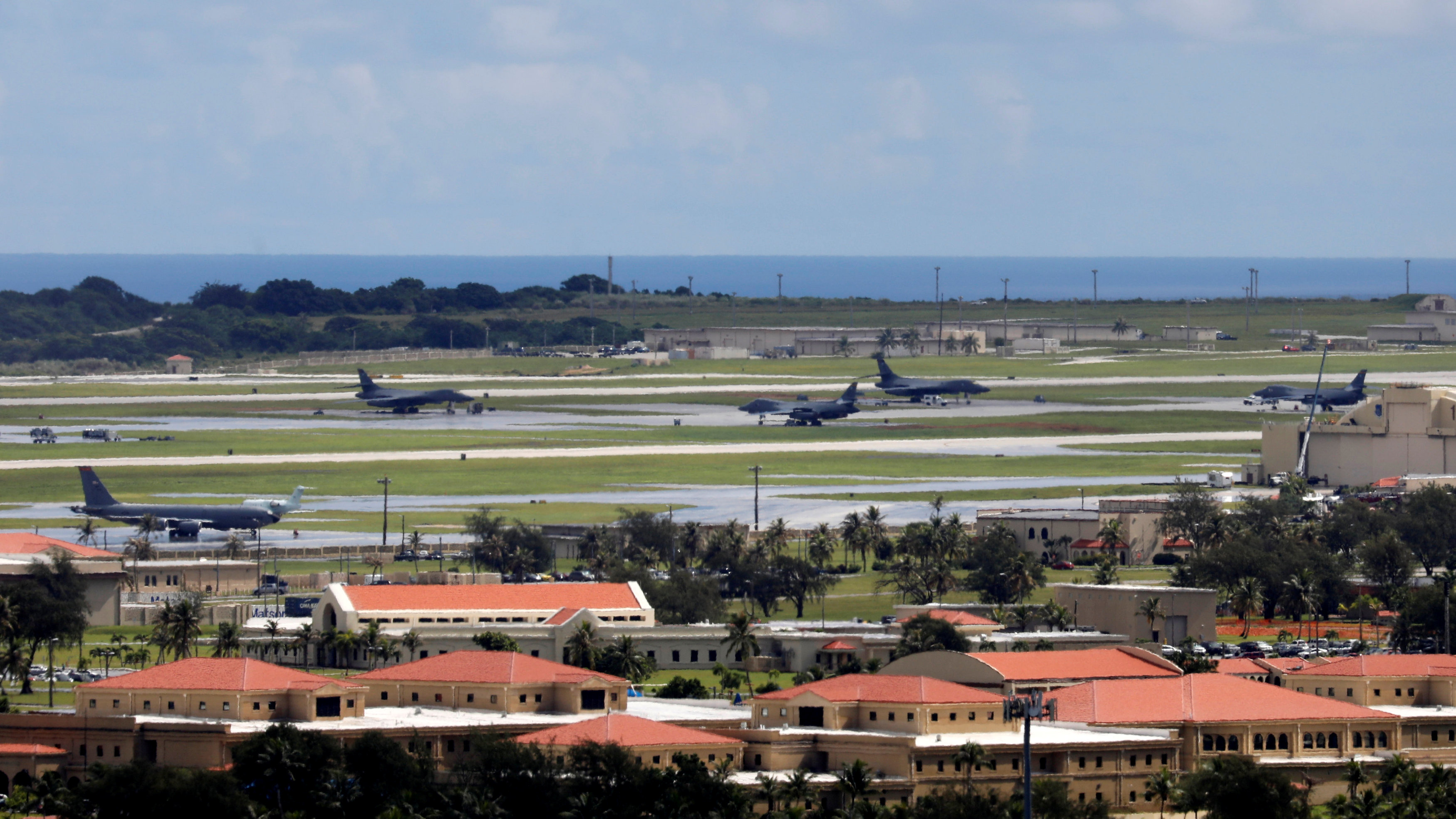 A view of U.S. military planes parked on the tarmac of Andersen Air Force base on the island of Guam, a U.S. Pacific Territory, August 15, 2017. REUTERS/Erik De Castro
