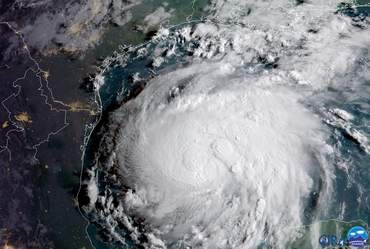 Hurricane Harvey is seen in the Texas Gulf Coast, U.S., in this NOAA GOES satellite image on August 24, 2017. NOAA/Handout via Reuters