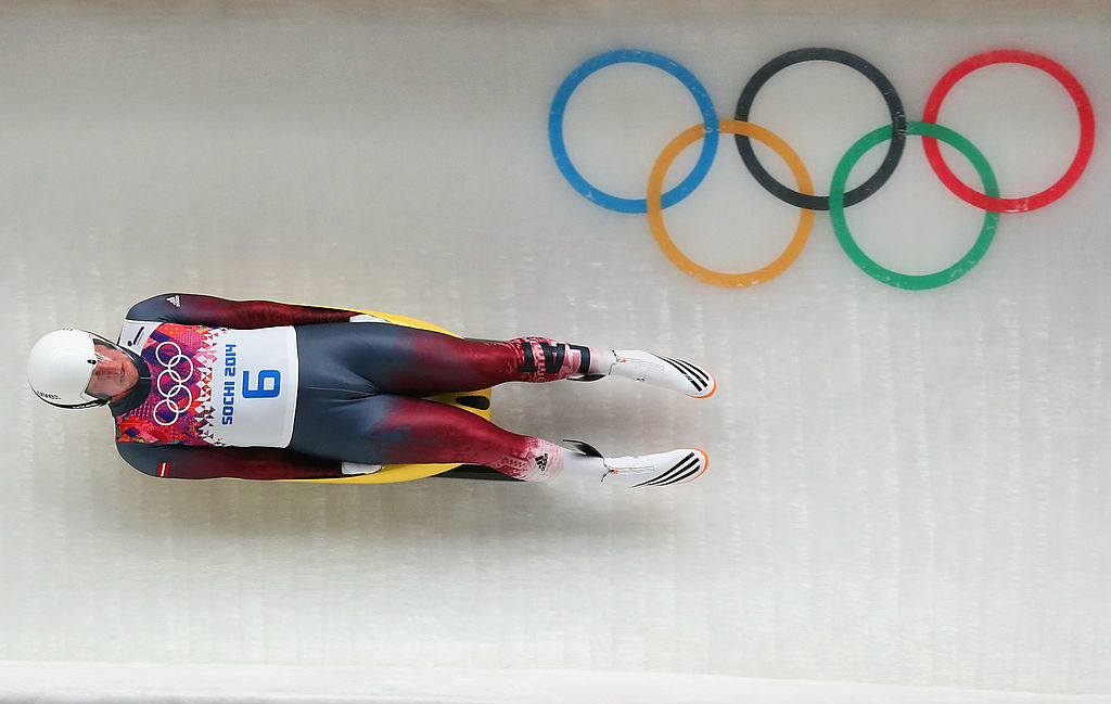 Martins Rubenis of Latvia makes a run during the Luge Men's Singles on Day 1 of the Sochi 2014 Winter Olympics at the Sliding Center Sanki on February 8, 2014 in Sochi, Russia. (Photo by Alex Livesey/Getty Images)