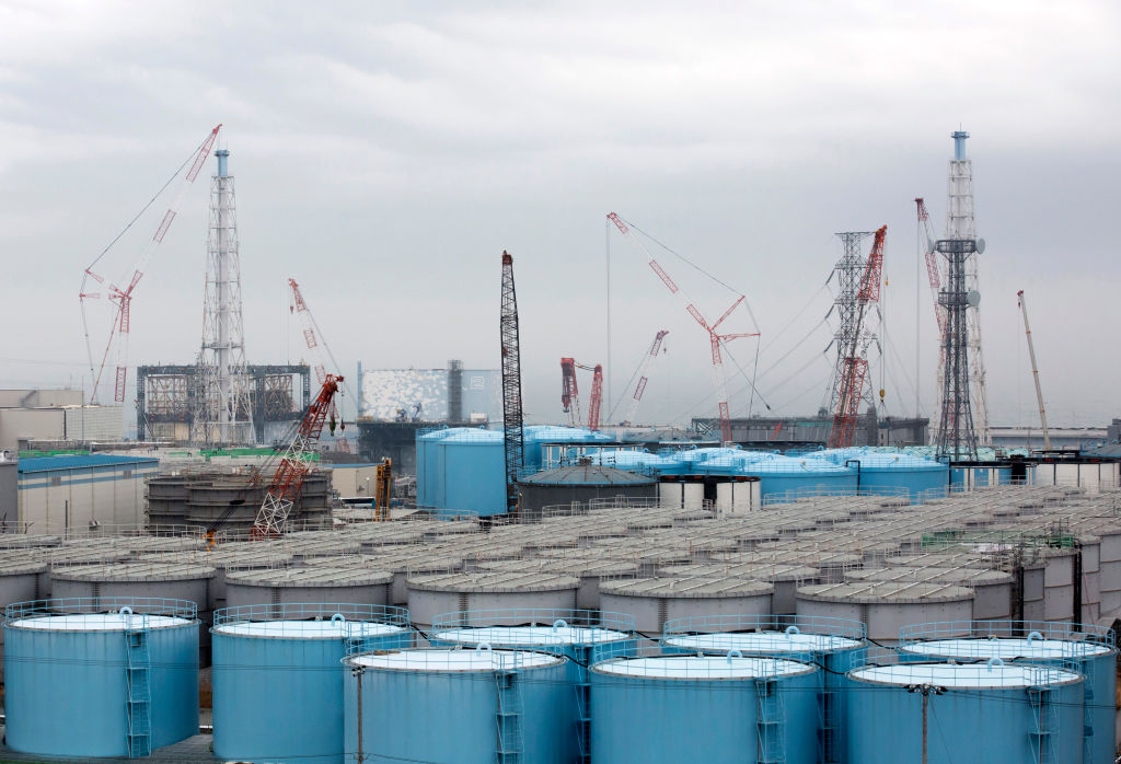 Storage tanks for contaminated water stand at Tokyo Electric Power Co