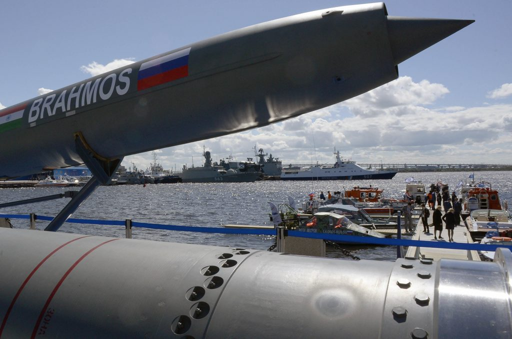A Brahmos supersonic cruise missile is on display at the International Maritime Defense Show in Saint Petersburg on June 28, 2017. (Olga Maltseva/AFP/Getty Images)
