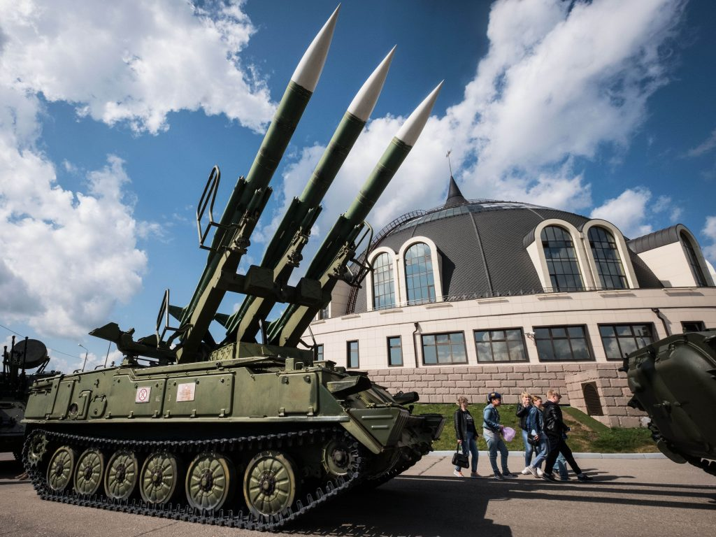 Visitors walk past a missiles launcher outside Tula State Museum of Weapons in the town of Tula some 180 km outside Moscow on August 26, 2017. (Yuri Kadobnov/AFP/Getty Images)