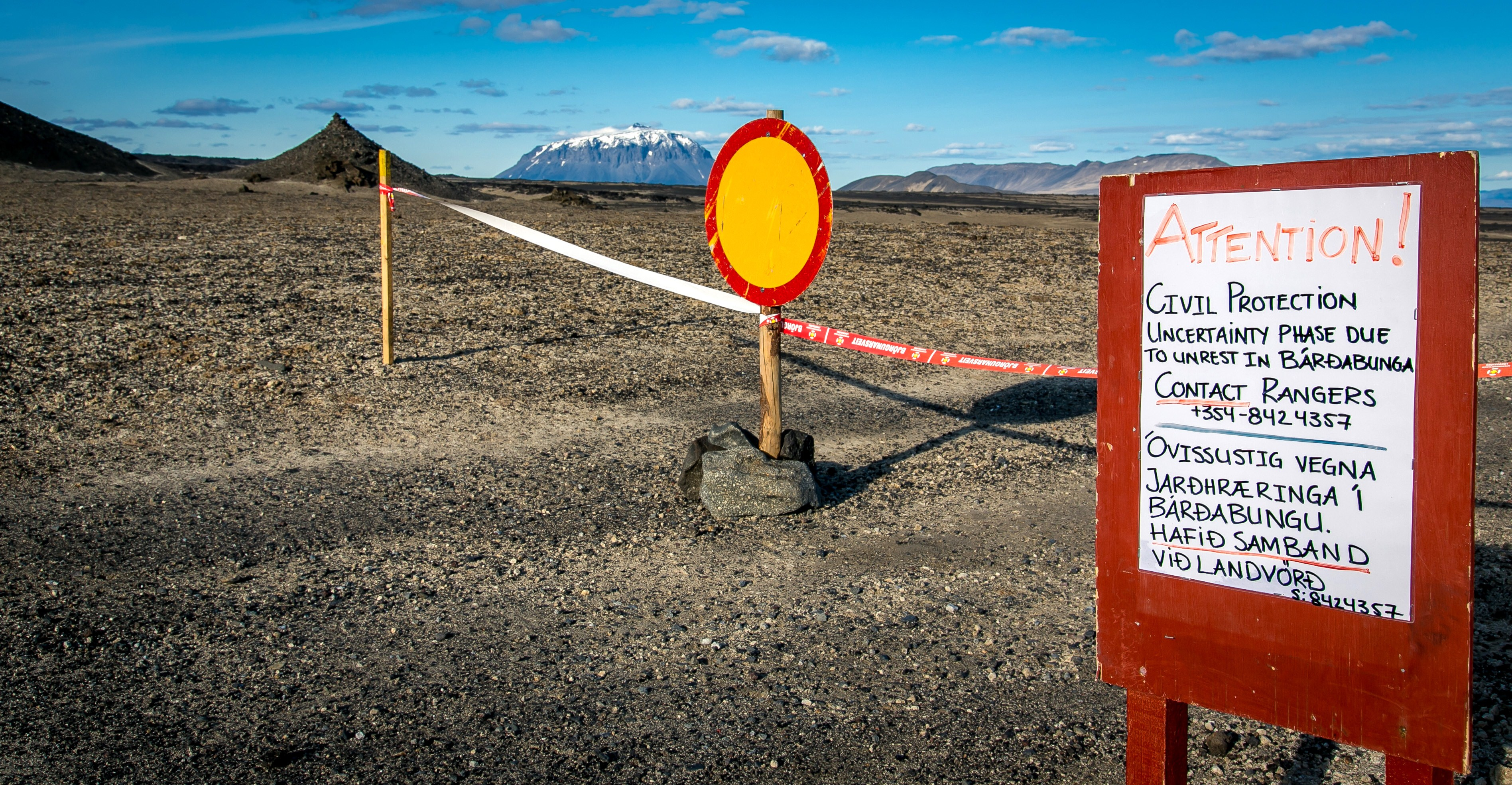 This picture taken on August 23, 2014 shows a sign blocking further access. (Arni Saeberg/AFP/Getty Images)