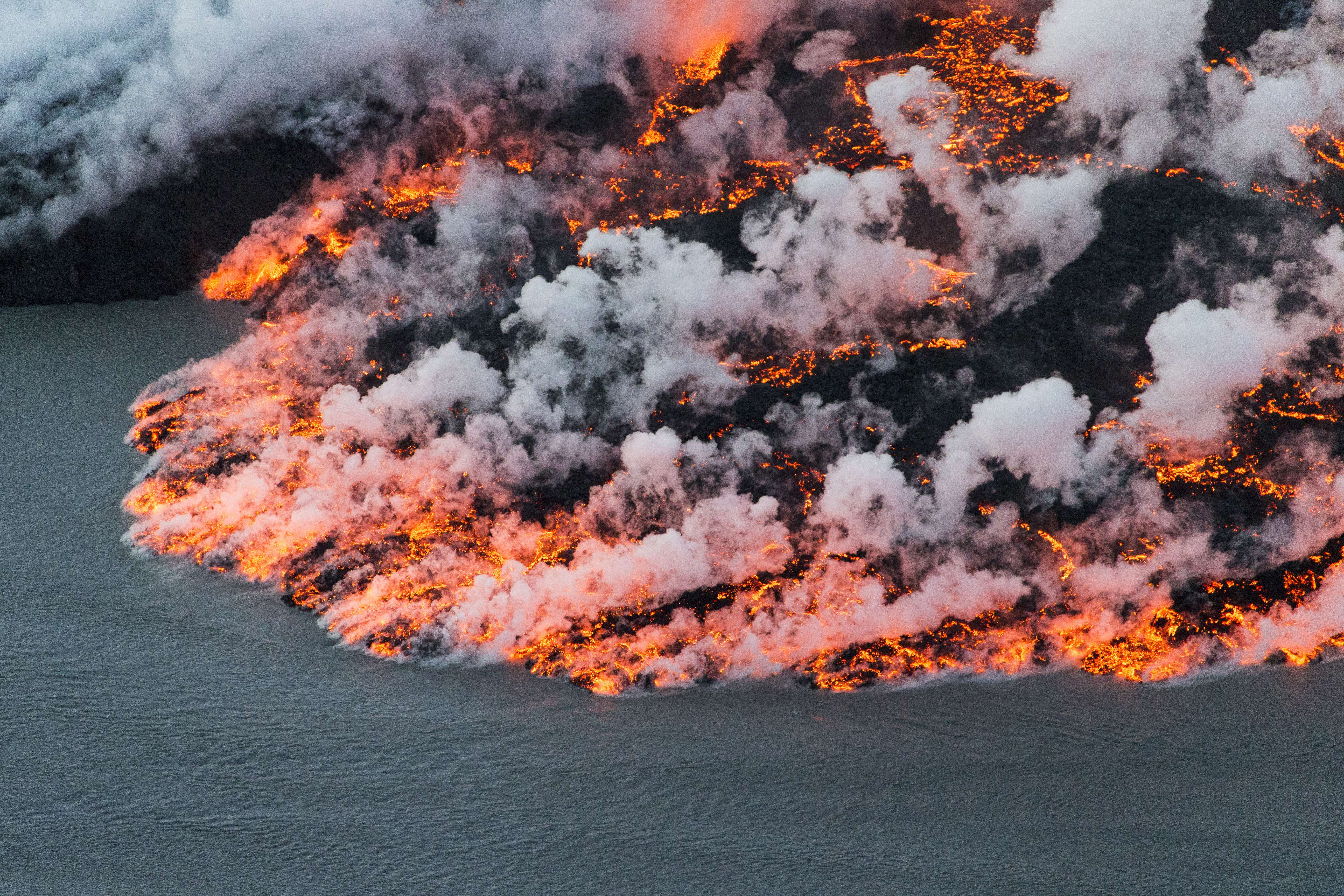 An aerial picture taken on September 14, 2014 shows lava flowing out of the Bardarbunga volcano in southeast Iceland. (Bernard Meric/AFP/Getty Images)