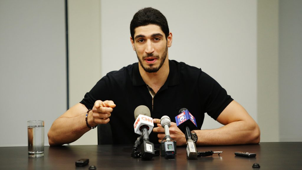 Turkish NBA Player Enes Kanter speaks to media during a news conference about his detention at a Romanian airport on May 22, 2017 in New York City. (Eduardo Munoz Alvarez/Getty Images)