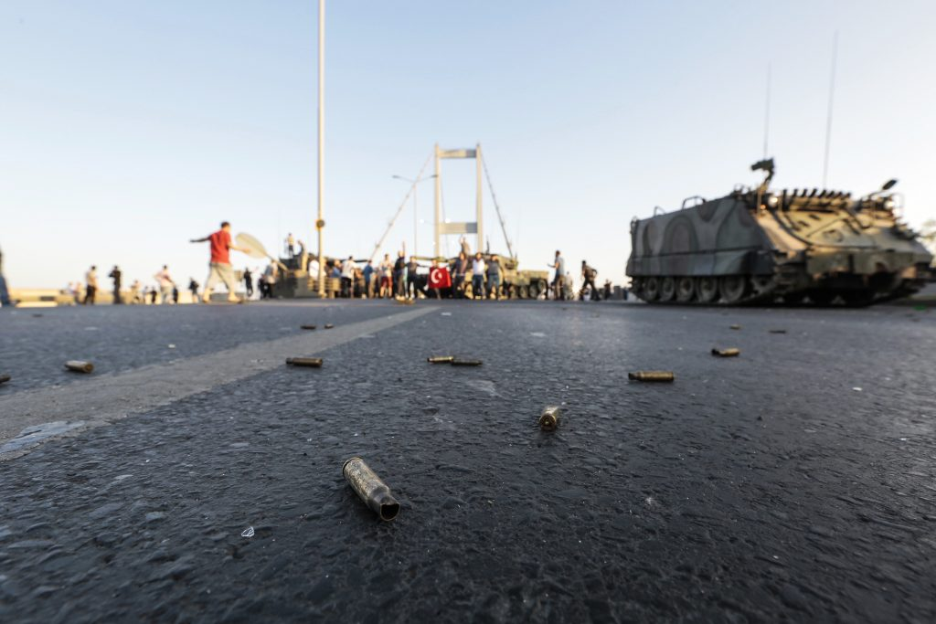 Bullet cases from clashes are seen on the ground on Bosphorus bridge on July 16, 2016 in Istanbul, Turkey. (Getty Images)
