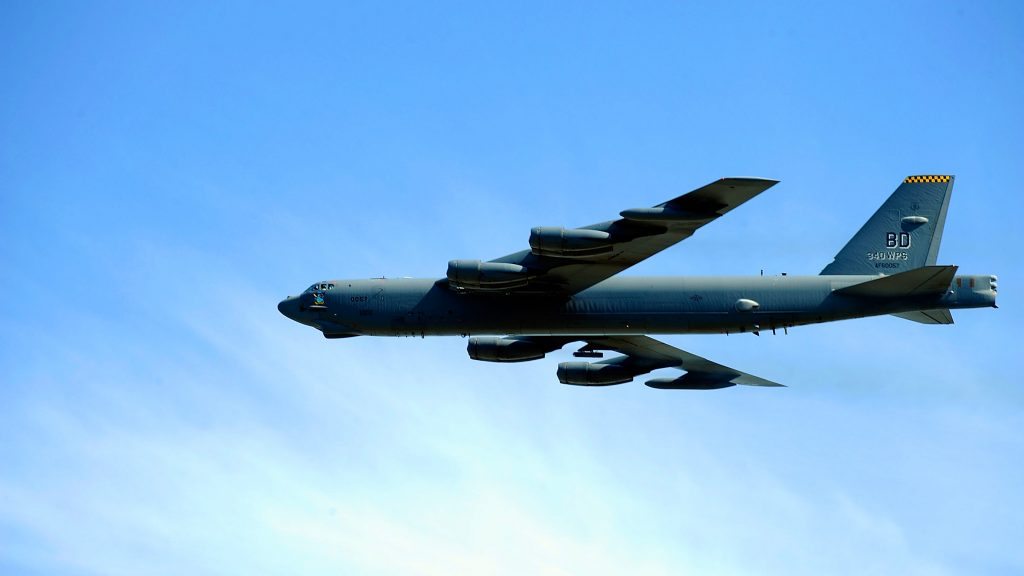A B-52 bomber flies over New Hampshire Motor Speedway on September 25, 2011 in Loudon, New Hampshire. (Jason Smith/Getty Images)