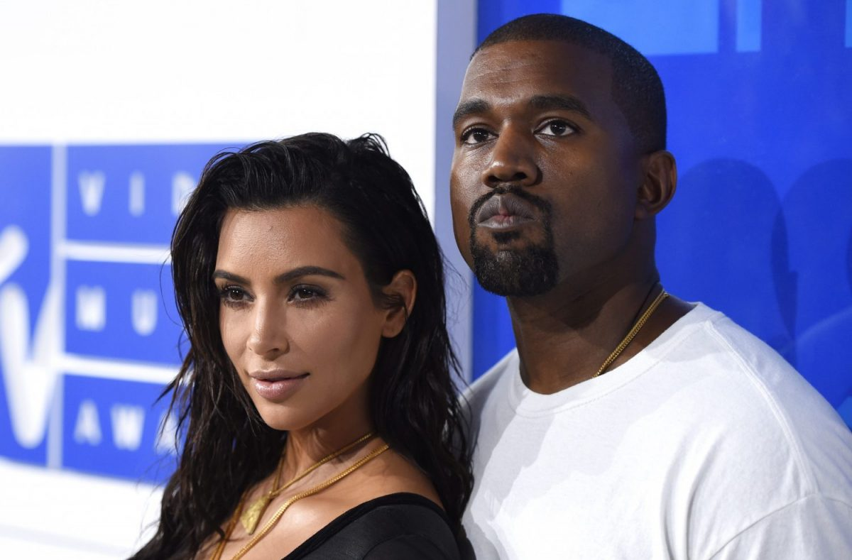In this Aug. 28, 2016 file photo, Kim Kardashian West, left, and Kanye West arrive at the MTV Video Music Awards in New York