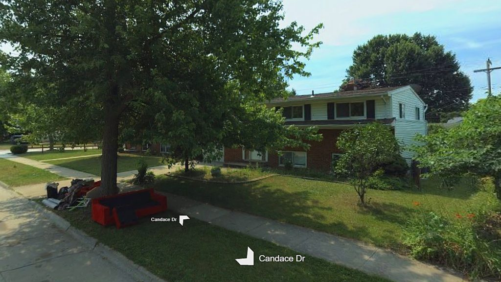 Candace Drive near East Ditmer Drives, where Jeffrey Thomas lived with his deceased girlfriend./ (Screenshot—Bing Maps)