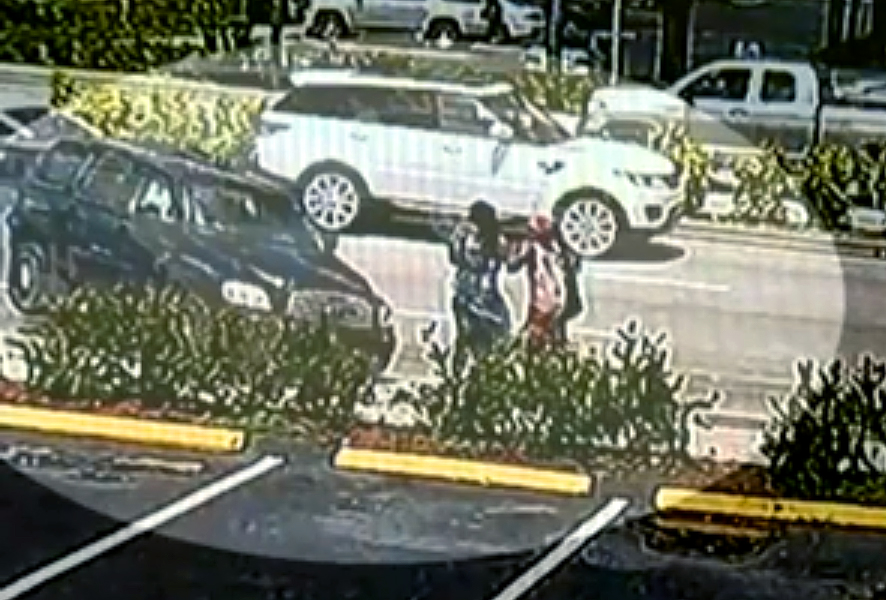 A detail of the area of impact, moments before the SUV struck the two women. (Screenshot—ABC-10)
