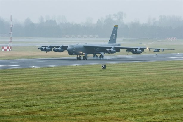 A B-52H Stratofortress assigned to Air Force Global Strike Command touches down