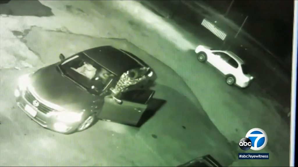 Ward clearly fires at the white car as it departs. (KABC Screenshot)