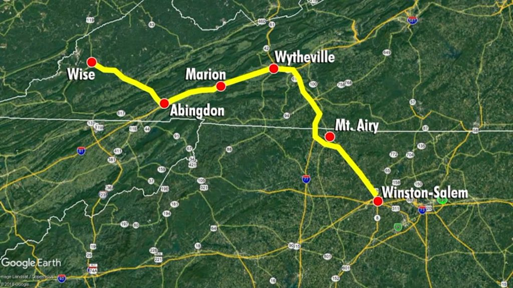 The route Lindsay Ann Oakes and her child took for their home in Virginia until they were hit by a drunk driver in Winston-Salem, North Carolina. (Winston-Salem screenshot)