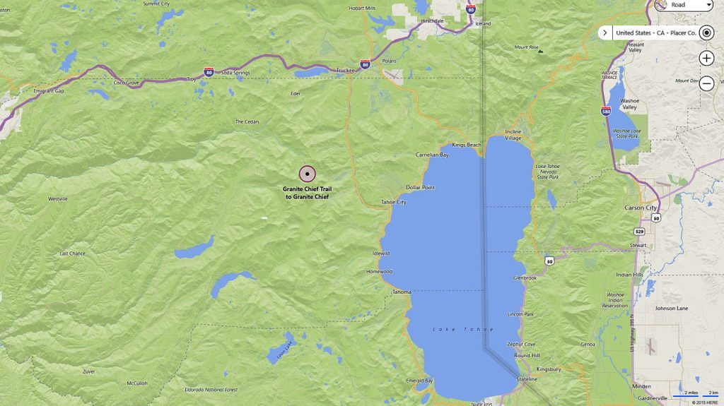 The Tahoe National Forest contains Granite Chief is a 3000-foot peak in the Tahoe National Forest, about six miles west of Tahoe City, California. (Bing Maps screenshot)