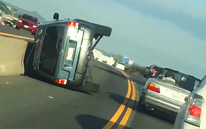 Probably not how the SUV driver imagined things working out. (NBCLosAngeles screenshot)