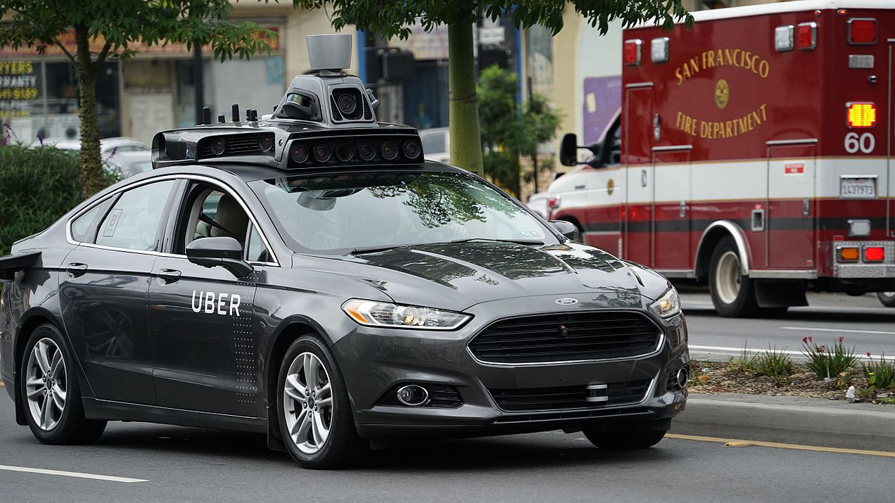 An Uber Autonomous vehicle (AV) driving through San Francisco (Wikimepia commons)