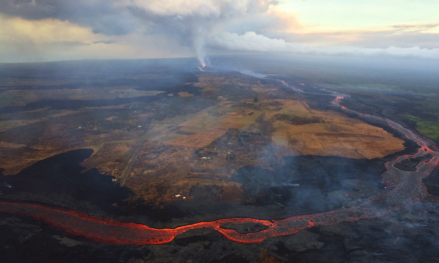 This aerial view of Kīlauea Volcano's lower East Rift Zone taken during an Hawaii Volcano Observatory's early morning overflight. (USGS)