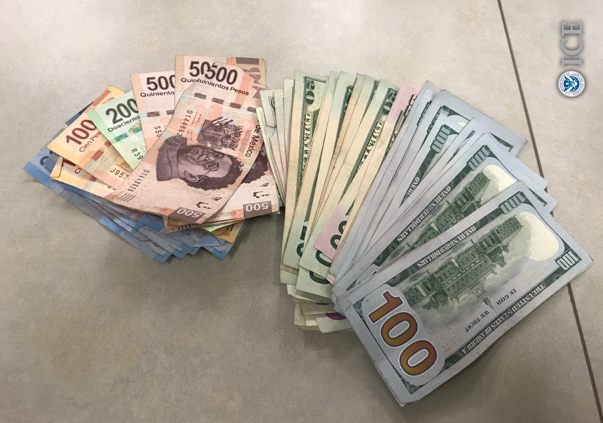 Agents seized about $20,000 in U.S,. and Mexican currency. (ICE press release)