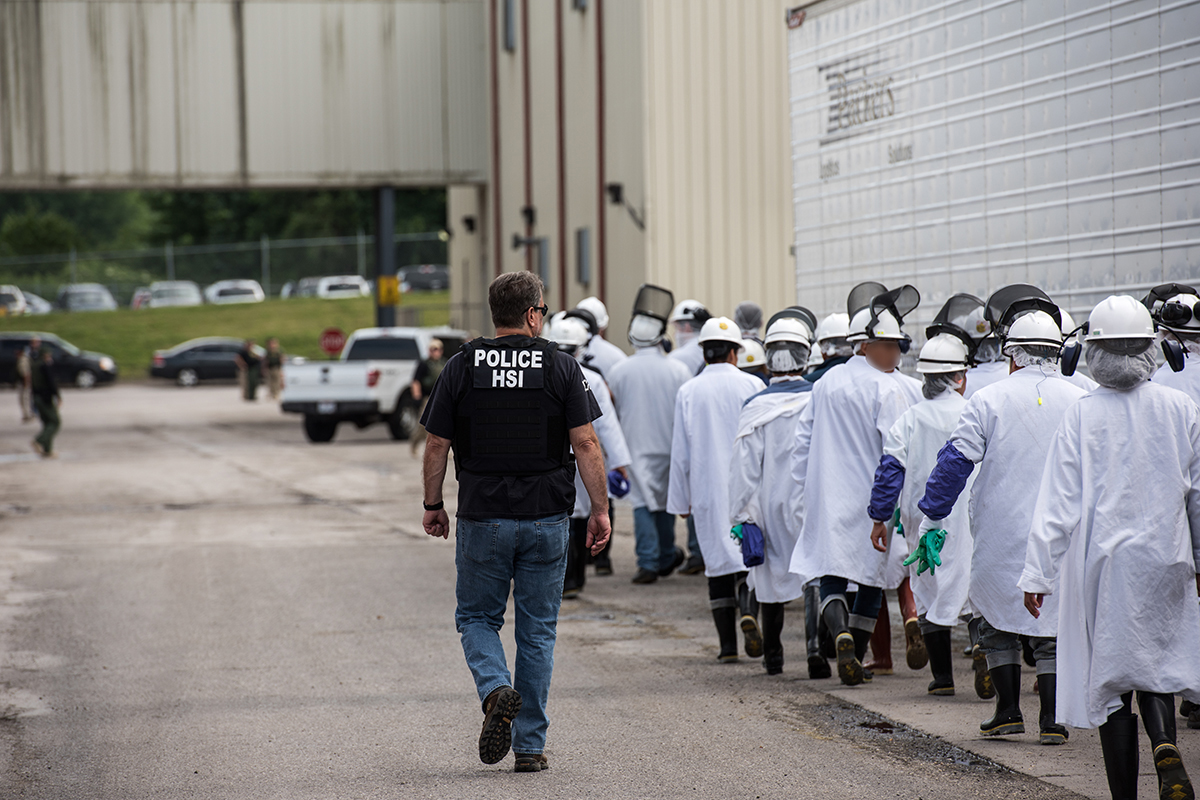 ICE executes federal criminal search warrants at Fresh Mark of Salem, Ohio, on June 19, 2018—146 workers were arrested on immigration violations. (ICE.gov)