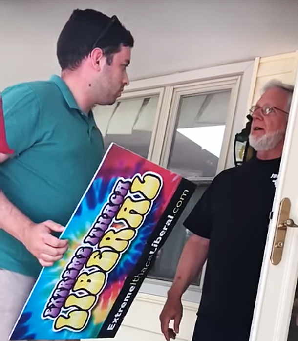 Nicholas Weinstein, campaign manager for Tom Reed, confronts Gary McCaslan about the stolen transponder. (Tom Reed for Congress/YouTube)