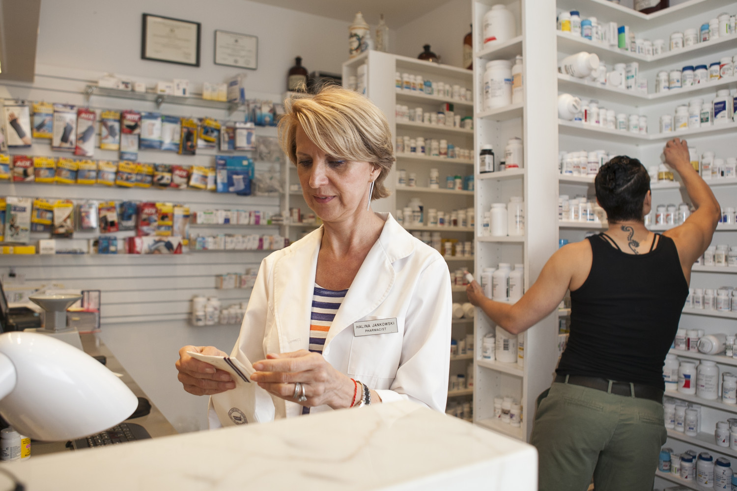 A pharmacist at the Northside Pharmacy