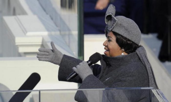 Aretha Franklin, who was reportedly seriously ill, was visited by singer Stevie Wonder and Jesse Jackson. (Timothy A. Clary/AFP/Getty Images)