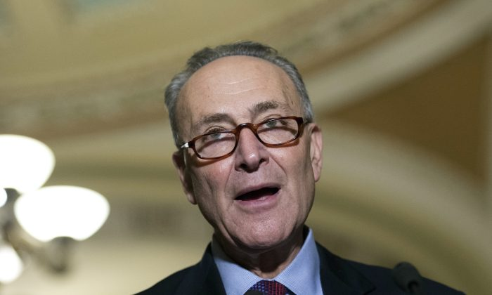 Sen. Charles Schumer speaks to the media on Capitol Hill in Washington.