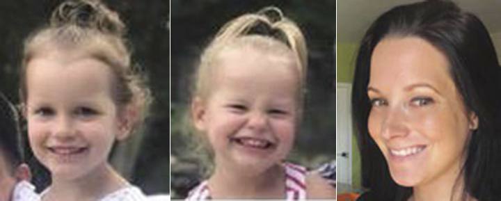 This photo combo of images provided by The Colorado Bureau of Investigation shows, from left, Bella Watts, Celeste Watts and Shanann Watts.