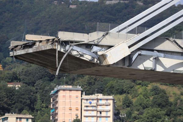 A picture shows the Morandi motorway bridge after it collapsed in Genoa on Aug. 14, 2018.