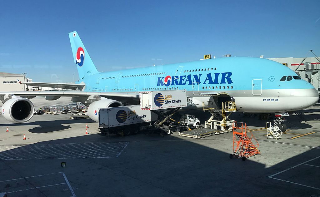 A Korean Air plane sits at a gate at Los Angeles international airport (LAX) on Jan. 30, 2017. (Daniel Slim/AFP/Getty Images)