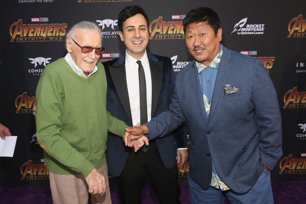 Stan Lee (L), Keya Morgan and actor Benedict Wong (R) attend the Los Angeles Global Premiere for Marvel Studios Avengers: Infinity War on April 23, 2018 in Hollywood, California. (Jesse Grant/Getty Images)