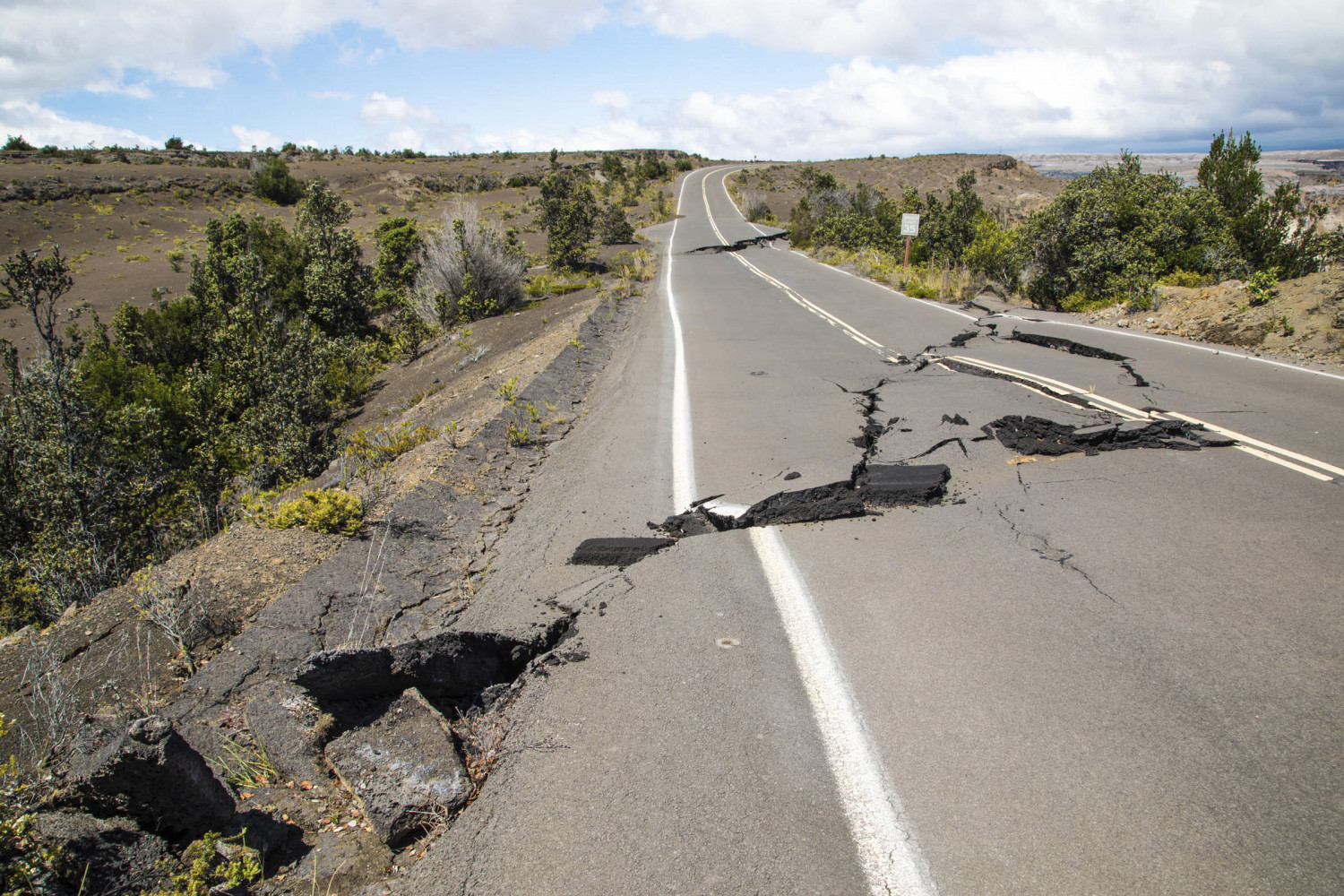 This National Park Service photo shows earthquake damage to Crater Rim Drive inside Hawaii Volcanoes National Park