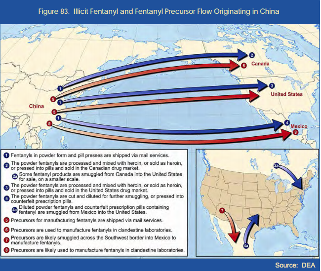 Flow of illicit opioids from China into the United States