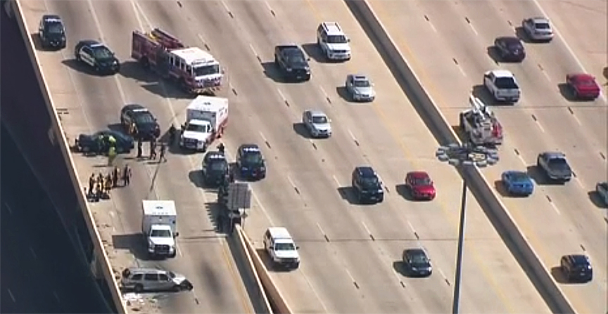 Trevino wrecked four cars on the freeway